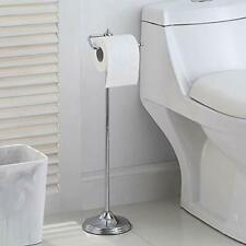 Bathroom Free Standing Toilet Tissue Paper Roll Holder Stand with Res