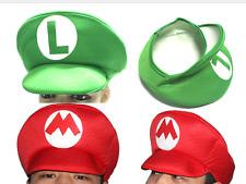 2pcs Super Mario Bros Adult Kids Costume Hat Anime Cosplay red green Mario Cap