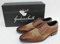GOODWIN SMITH Men's Brown & Stone Leather Suede Abbey Derby Shoes UK8 EU42 BNIB