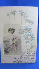 cpa fantaisie illustrateur Gaufree marguerite fleur elegante