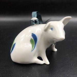 Vintage Dansk Hand Painted Sage Song Porcelain Pig Figurine Ornament Denmark
