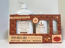 Hempz TAHITIAN VANILLA Bath & Body Set - Body Moisturizer, Body Wash, & Bag