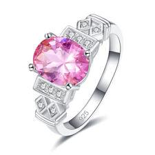 Fashion Women Oval Cut Rainbow & Pink & White Topaz Gemstone Silver 925 Ring