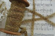 "18"" ANTIQUE FRENCH GOLD METALLIC PASSEMENTERIE BRAID GIMP VINTAGE LACE TRIM HAT"