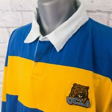 UCLA Bruins Blue and Gold Striped Long Sleeve Rugby Polo Shirt XXL 2XL
