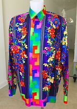 1993 vintage GIANNI VERSACE silk shirt Stripes and Flowers print size 50