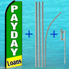 PAYDAY LOANS SWOOPER FLAG + 15' TALL POLE + MOUNT Feather Flutter Bow Banner