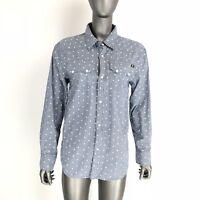Lucky Brand Womens Western Rivet Shirt Sz L Long Sleeve Shirt Blue