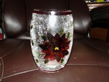 Crackle Glass Poinsettia Hurricane Candle Holder New