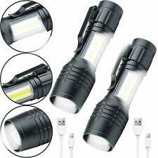 2x Taschenlampen starke Led Leuchtkraft Polizei Mini Swat Usb Wiederaufladbar