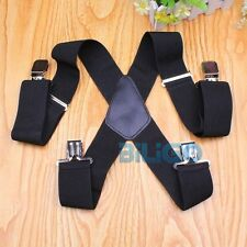 50mm Extra Wide Adjustable Elastic Mens Suspenders Clip-on Braces Trouser Black