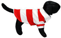 Red and White Striped Polo Shirt White Collar for Small Dogs Pets