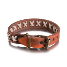 Leather Bracelet  Brown Button Clasp L464