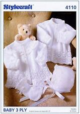 Stylecraft 4110 Knitting Pattern Baby Jackets Bonnet & Mitts in Wondersoft 3Ply