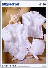 Stylecraft 4110 Knitting Pattern Baby Jackets Bonnet & Mitts in Wondersoft 3ply