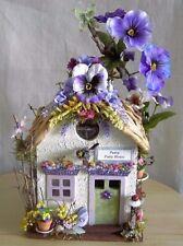 Fairy Garden PURPLE PANSY FLOWER FAIRY HOUSE/SPRING SUMMER Miniature Doll House