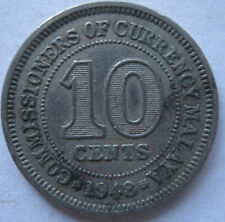 Commissioners of Currency Malaya 10 cents 1948 coin