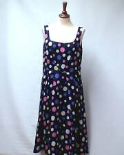 LAURA ASHLEY 50's Style Rockabilly Multi Col Spotted Linen Dress Lined UK 14