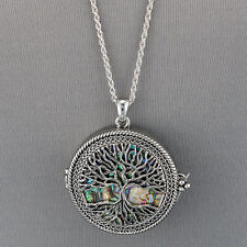 Silver Chain Tree Of Life Clam Shell Magnifying Glass Locket Pendant Necklace