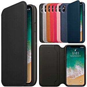 COVER per Iphone X XS/ Max /XR CUSTODIA in PELLE Genuine FLIP Portafoglio SLIM