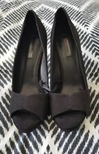 ZARA TRAFALUC Black Suede Peep Toes Pumps Heels Shoes Size 41