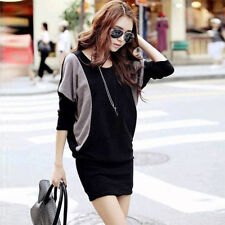Autumn Women Fashion Batwing Sleeve Contrast Slim Bodycon Sweater Dress Knitwear