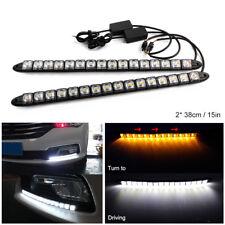 2PC 16 LED DRL Driving Light White Amber Turn Signal Headlight Flexible Fog Lamp