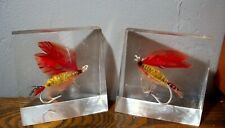 Old Acrylic Lucite Fishing Flies Bookends ~ vintage fish fly lure Bass