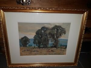 Sidney Dennant Moss ARBA RBA 1884-46 Watercolour Harvest Time Signed & dated '24