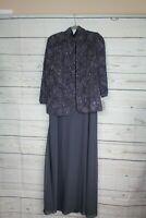 Alex Evenings Women's Jacquard Glitter Knit Long Dress and Jacket,Smoke, 12