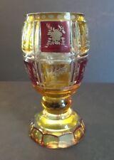 ANTIQUE BOHEMIAN CZECH AMBER / RUBY GLASS ENGRAVED BEAKER / TUMBLER, c. 1880s