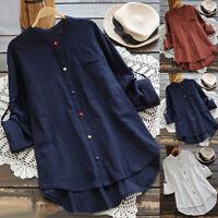Womens Oversized Long Sleeve Shirts Cotton Linen T-Shirt Casual Blouse Tops 8-22