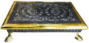 "9""x6"" Indian Bajot Bajoth Chowki Puja Table for Idol Mandir Oxidised Brass"