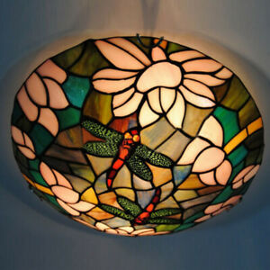 Artistic Tiffany Stained Glass Flush Mount Ceiling Light Mission Fixture Lamp