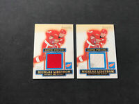 1999-00 TOPPS PREMIER PLUS NICKLAS LIDSTROM LOT OF (2) GAME PIECES JERSEY #GP-NL