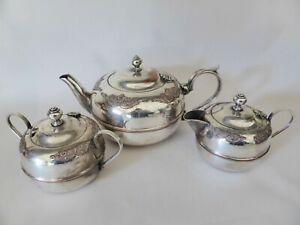 Vintage LINTON Australia EPNS Silver Plated Ornate Tea Service, 1930s Tea Set