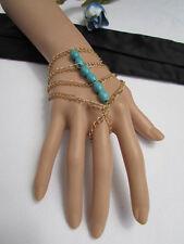 WOMEN GOLD FASHION MULTI STRANDS HAND CHAINS SIX BLUE BEADS BRACELET SLAVE RING