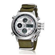OHSEN Militär Weiss Herren Analog LED Digital Quarz Nylon Armband Uhr