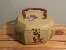 Vintage Octagonal Wooden Bucket Box Purse Lucite Handle Birds Mushrooms
