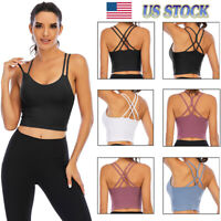 Women Yoga Sports Bra Backless Fitness Crop Tops Cross Back Padded Casual Top LB