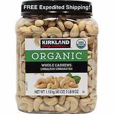 Kirkland ORGANIC WHOLE Cashews Unsalted Unroasted 2.5lbs (40oz) NOT BULK