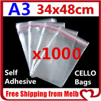 1000x A3 Cello Bag 34x48cm Cellophane Clear Resealable Plastic SelfAdhesive Seal