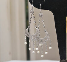 18 k White Gold Diamond Chandelier Earrings