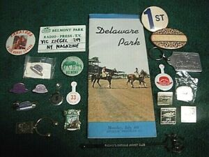 20 HORSE RACING LOT BELMONT SARATOGA FLORIDA DERBY PINS BUTTONS KEYCHAIN HIALEAH