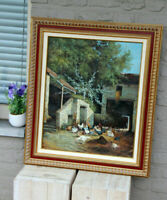 Gorgeous Flemish oil canvas painting Chicken family Farm stable signed