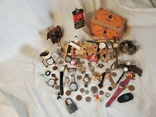 Junk Drawer Lot , Coin, Watches, Jewelry, Figures, Wooden Cigar Box And More