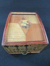 Hand Painted & Signed Japanese Parquetry Cigarette Box Dispenser c.1930-40