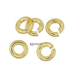 10pc 22kt Gold Plated Sterling Silver Open Heavy Jump Ring 1.3x 5mm 16ga #97503