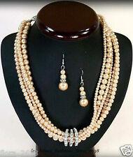 PARURE collier boucles d'oreille perles de culture saumon bijoux fantaisie neuf.