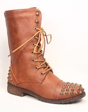 Women's Mid Calf Low Heel Round Toe Military Combat Boots Shoes Size 5.5-10
